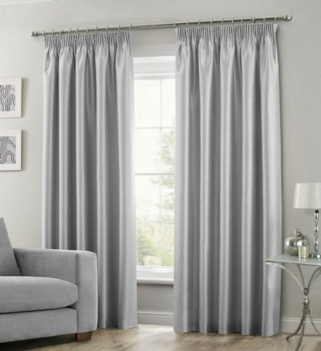 SILVER COLOUR STYLISH FAUX SILK FULLY LINED PAIR OF CURTAINS